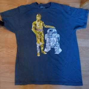 Star Wars R2D2 & C3PO graphic blue t-shirt sz L